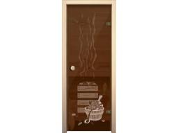 Дверь для сауны «Банька» (бронза, 6 мм,круглая ручка- защелка)