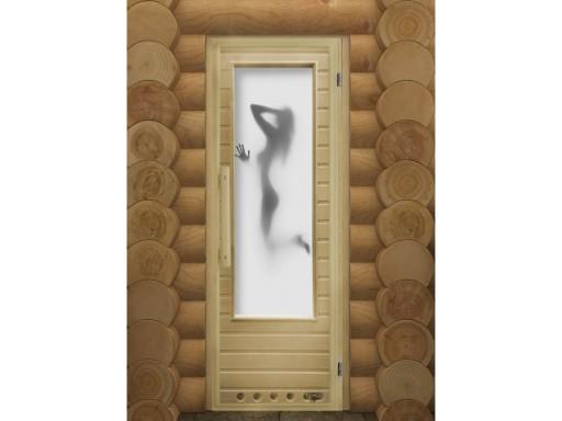 Дверь банная остекленная липа стекло элит сатин Искушение с вентиляцией и гималайской солью.