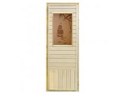 Дверь банная остекленная липа с прямоугольным стеклом, рисунок.