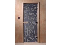 Дверь для сауны «Бамбук и бабочки» (синий жемчуг)