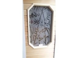 """Дверь банная остекленная липа """"Бамбук и бабочки"""" сатин ( 8-ми угольное)"""