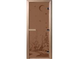 Дверь для сауны «Зима» бронза (2 петли)