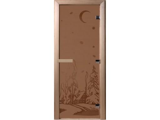 Дверь для сауны «Зима» бронза(2 петли)