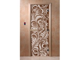 Дверь для сауны «Хохлома» (бронза)