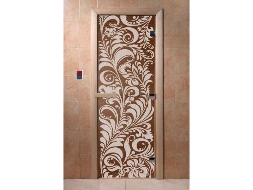 Дверь для сауны «Хохлома» бронза