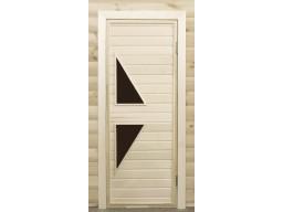 Дверь банная остекленная липа  ПО-7