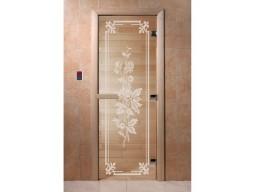 Дверь для сауны «Розы» (бронза)