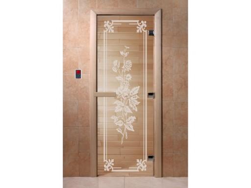 Дверь для сауны «Розы» бронза (2 петли)