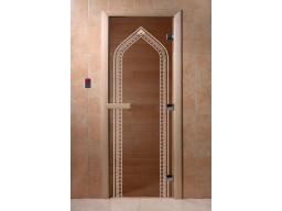Дверь для сауны «Арка» (бронза)
