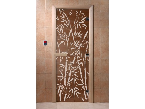 Дверь для сауны «Бамбук и бабочки» (бронза)