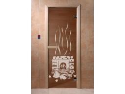 Дверь для сауны «Банька» (бронза, 6 мм, защелка)