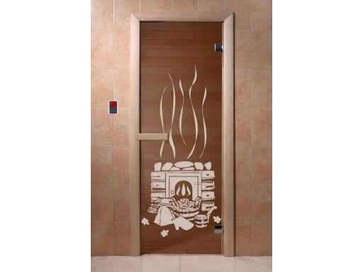Дверь для сауны Бронза с рисунком (6 мм, магнит)