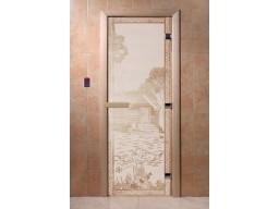 Дверь для сауны «Банька в лесу» (сатин)