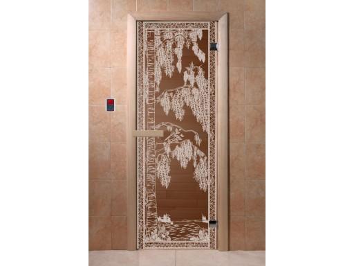Дверь для сауны «Березка» (бронза, 6 мм, защелка)