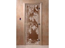 Дверь для сауны «Березка» (бронза)