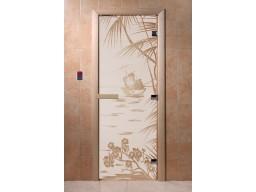 Дверь для сауны «Голубая лагуна» (сатин)