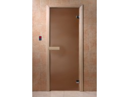 Дверь для сауны Бронза матовая (6 мм,круглая ручка- защелка)