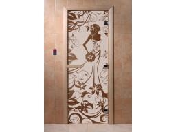 Дверь для сауны «Девушка в цветах» (бронза)