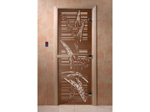 Дверь для сауны «Листья» (бронза)