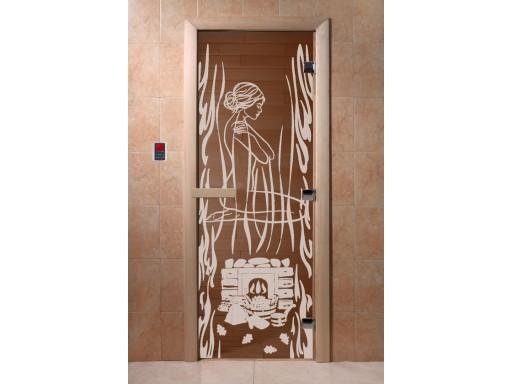 Дверь для сауны «Волшебный пар» (бронза)
