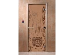 Дверь для сауны «Волшебный пар» (бронза матовая)