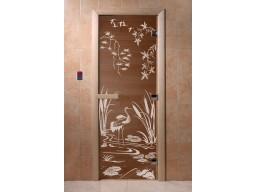 Дверь для сауны «Камышовый рай» (бронза)