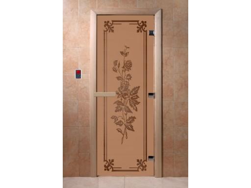 Дверь для сауны «Розы» (бронза матовая)
