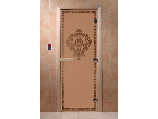 Дверь для сауны «Версаче» (бронза матовая)