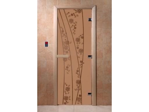 Дверь для сауны «Весна. Цветы» (бронза матовая)