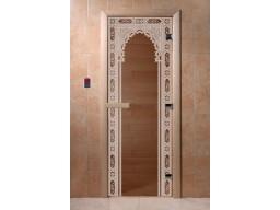 Дверь для сауны «Восточная арка» (бронза)