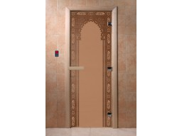 Дверь для сауны «Восточная арка» (бронза матовая)