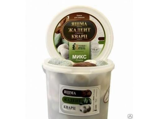Микс премиум (жадеит, кварц, яшма) для электрокаменок 15 кг, ведро